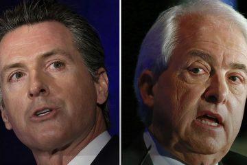 Portraits of Gavin Newsom and John Cox