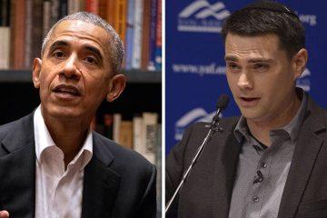 Portraits of President Barack Obama and conservative commentator Ben Shapiro