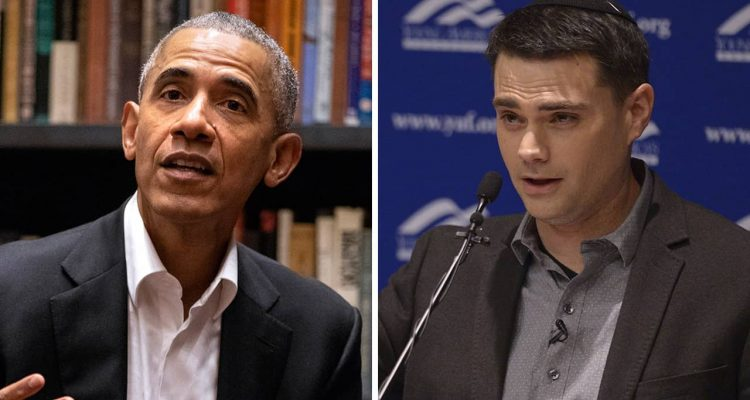 Portraits of President Barack Obama and conservative commentator Ben Shapiro