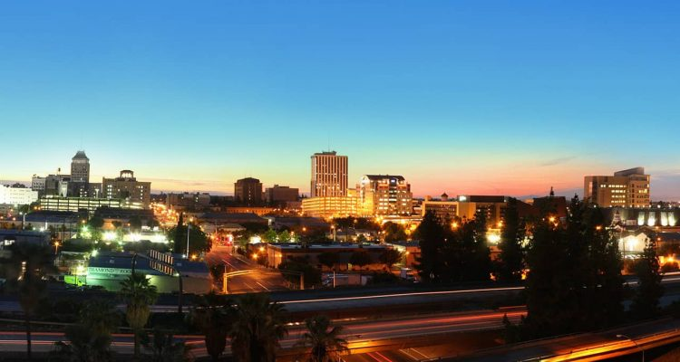 Photo of downtown Fresno at night