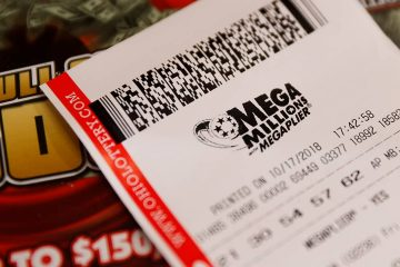Photo of a Mega Millions lottery ticket