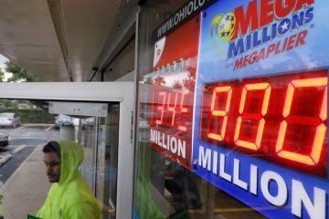 Photo of Mega Millions jackpot sign outside of a store