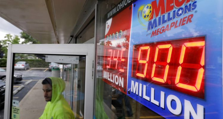 Photo of Mega Millions jackpot sign outside of a store
