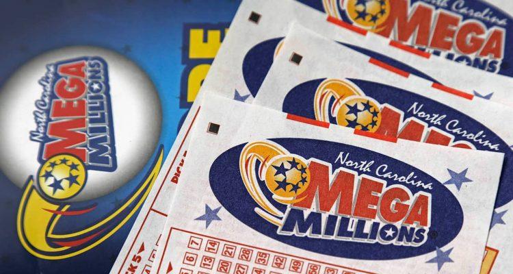 Photo of Mega Millions lottery tickets and logo