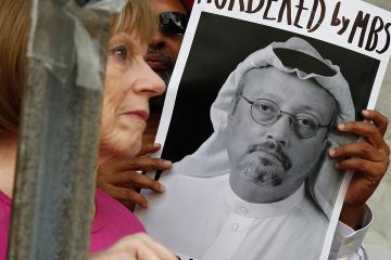 Photo of a poster of Saudi journalist Jamal Khashoggi