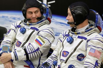 Photo of U.S. astronaut Nick Hague, right and Russian cosmonaut Alexey Ovchinin