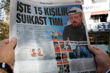 """Photo of the Sabah newspaper with a headline reading """"15-member assassination squad"""" in Ankara"""