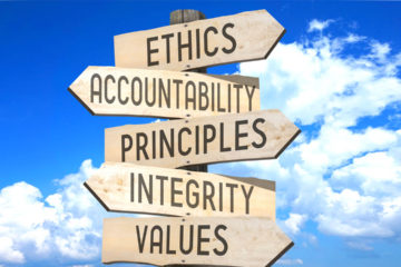 Signpost listing ethical values