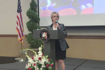 Clovis Unified Superintendent Eimear O'Farrell speaking at breakfast event