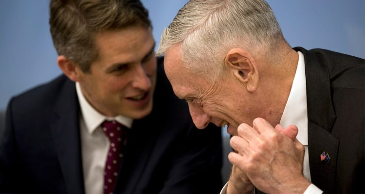 Photo of U.S. Secretary for Defence Jim Mattis and Britain's Defence Minister Gavin Williamson