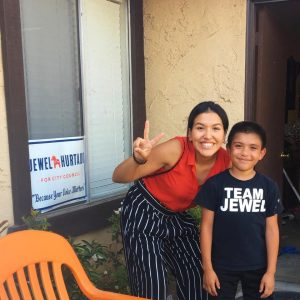 Photo of Jewel Hurtado and a young boy