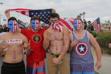 Photo of Trump supporters in Huntington Beach, California