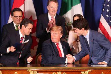 Photo of President Donald Trump, Prime Minister Justin Trudeau, and Mexico's President Enrique Pena Nieto