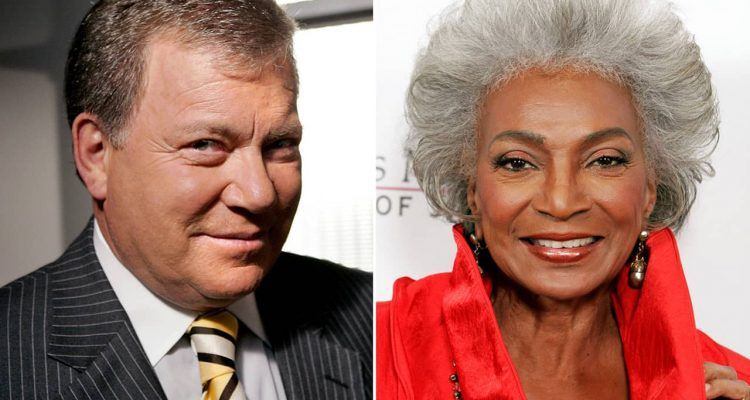Photo of actor William Shatner and actress Nichelle Nichols