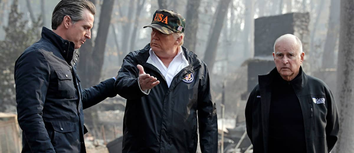 Photo of Trump, Newsom and Brown at the scene of the Camp Fire