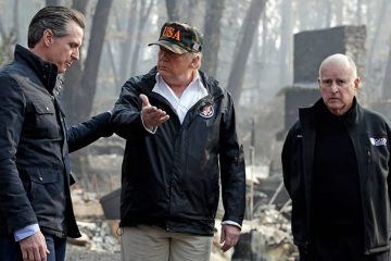 Photo of Gavin Newson, Jerry Brown, and Donald Trump