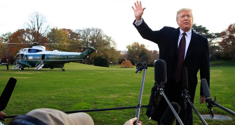 Photo of President Donald Trump leaving the White House