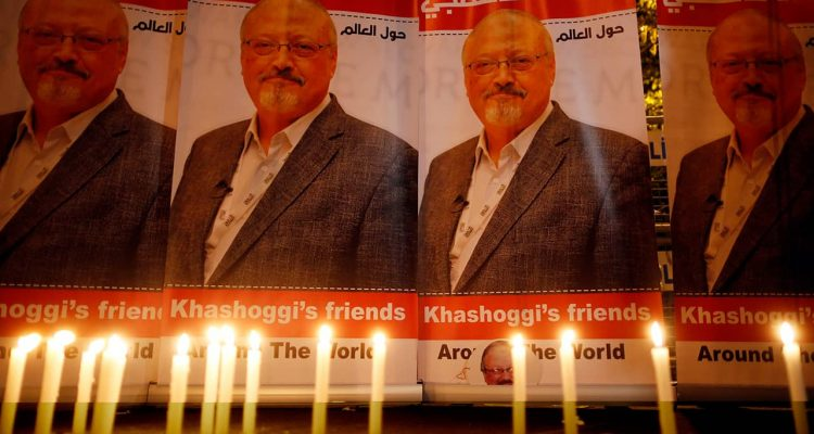Photo of candles lit for Jamal Khashoggi