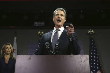 Photo of Gavin Newsom on election night
