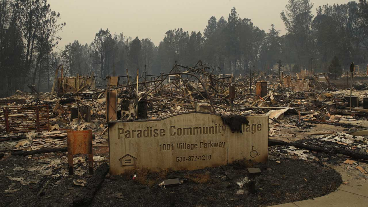 Photo of community wiped out by Camp Fire.