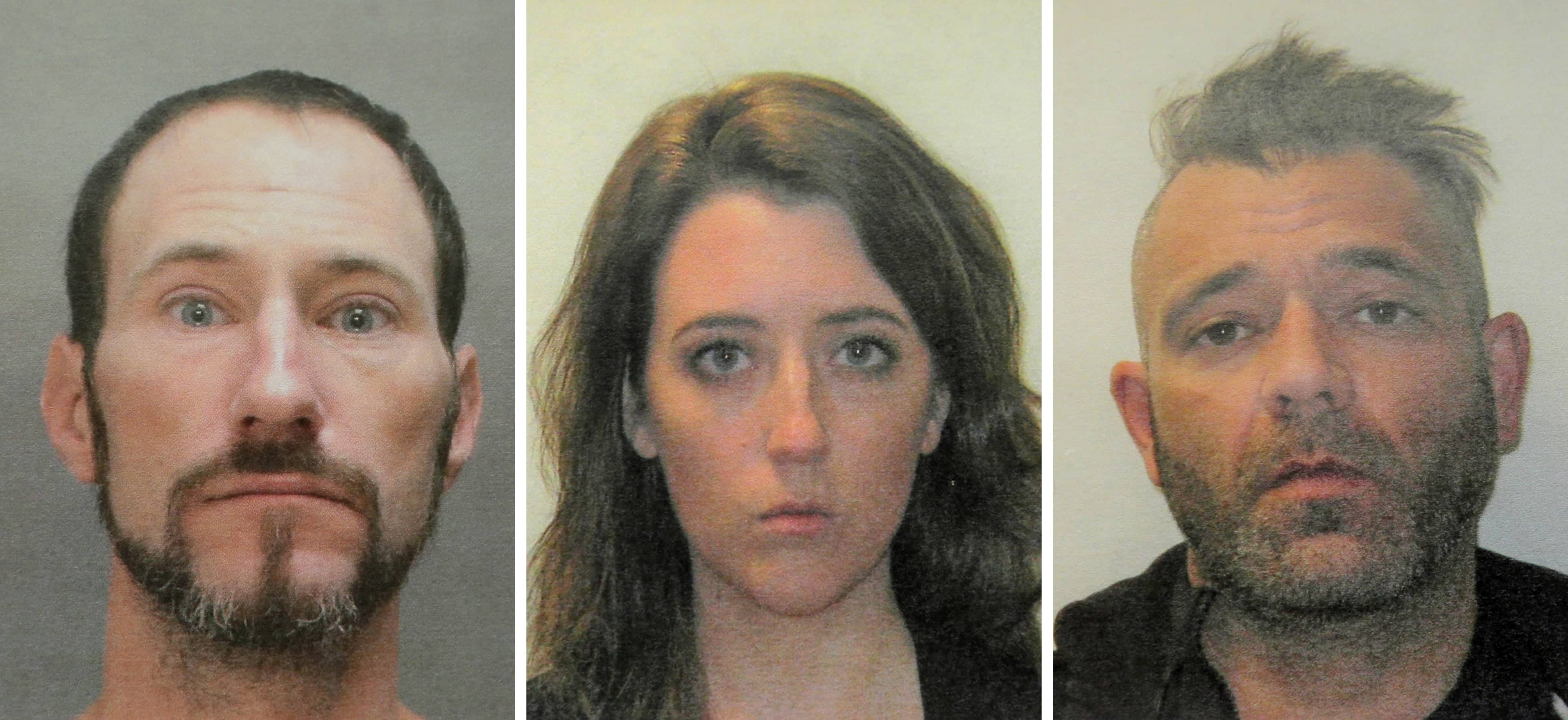 Photo of mugshots of Johnny Bobbitt, from left, Katelyn McClure and Mark D'Amico