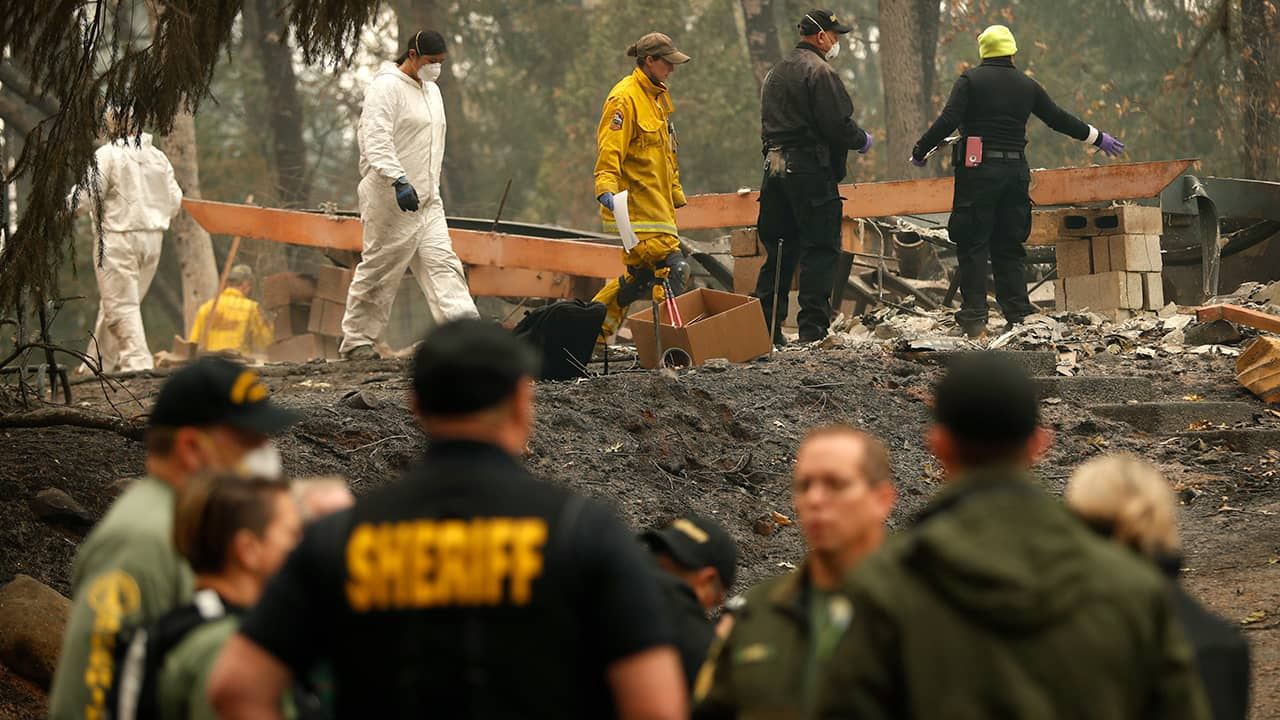 Photo of investigators recovering human remains