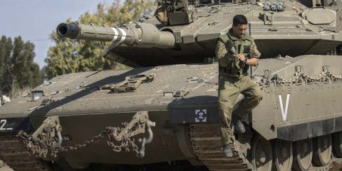 Photo of an Israeli tank and soldier