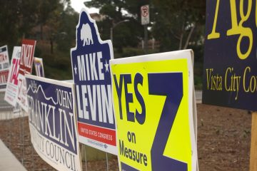Photo of political signs in California