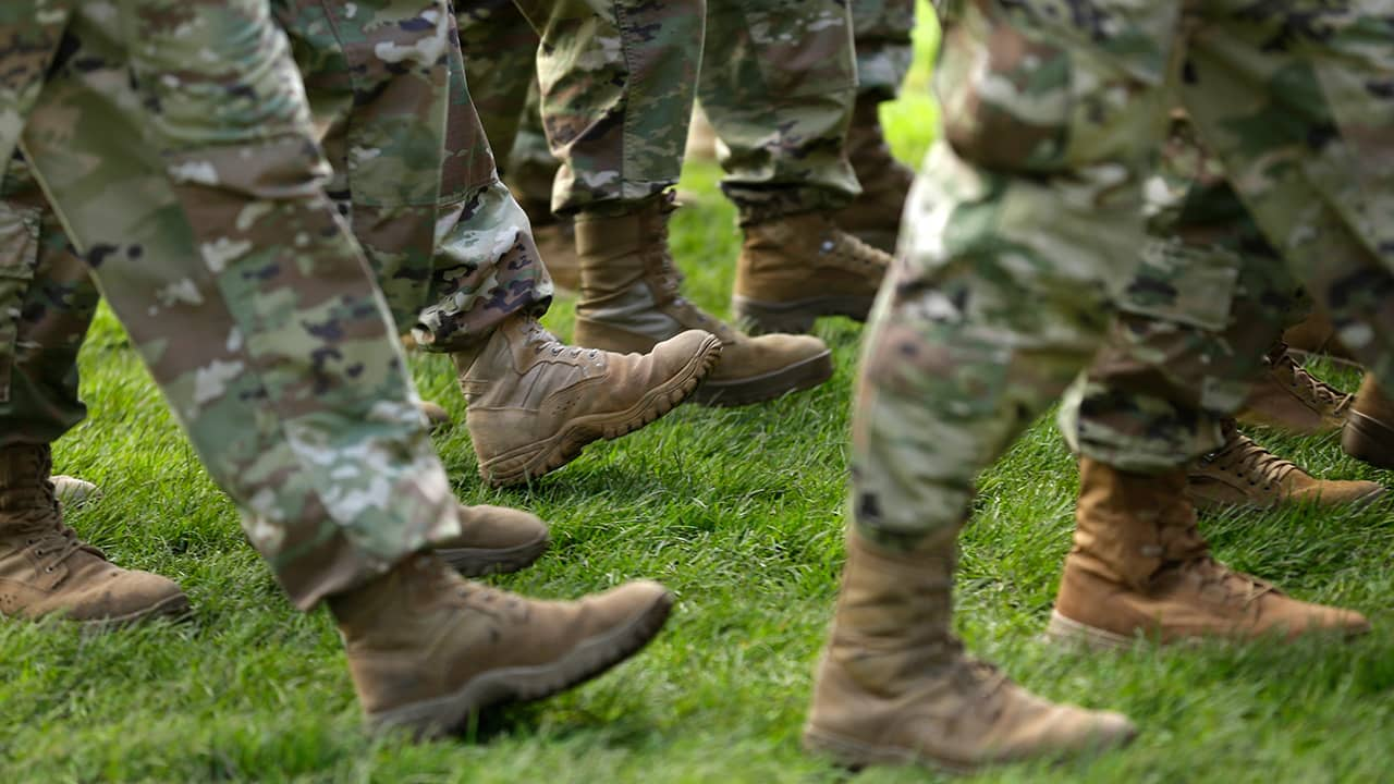 Photo of U.S. Army solders marching in formation