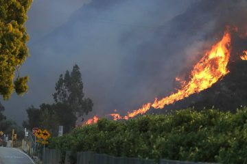 Photo of a wildfire coming down a hilltop in Malibu, CA