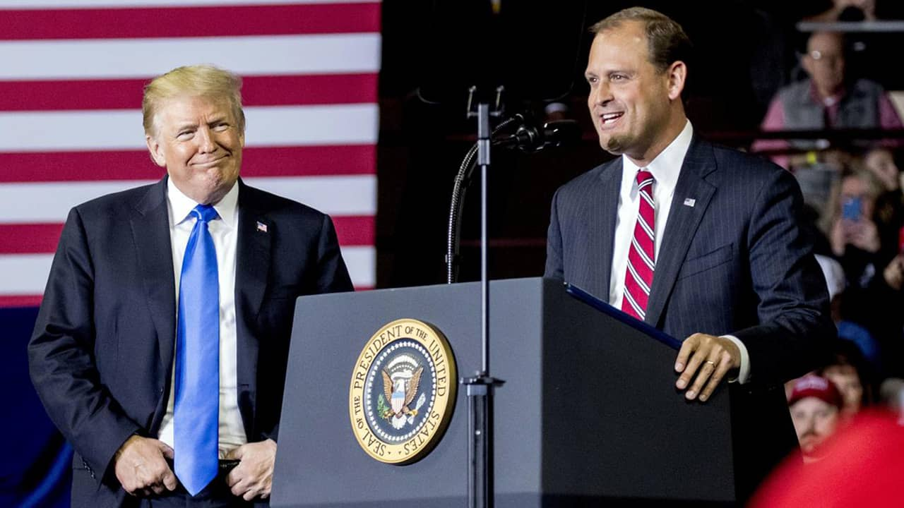 Photo of President Donald Trump and Rep. Andy Barr, R-Ky.