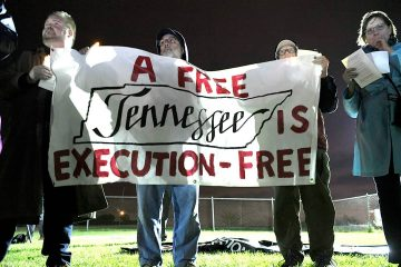 Photo of protesters outside Riverbend Maximum Security Institution