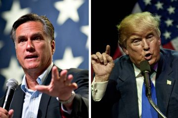 Photo combination of Mitt Romney and President Donald Trump