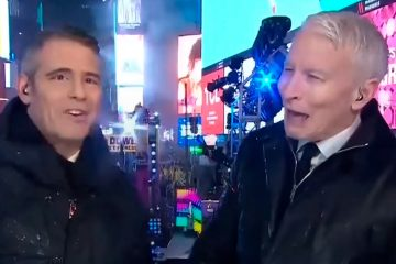 Screen grab images of Andy Cohen and Anderson Cooper on CNN's New Year's Eve show