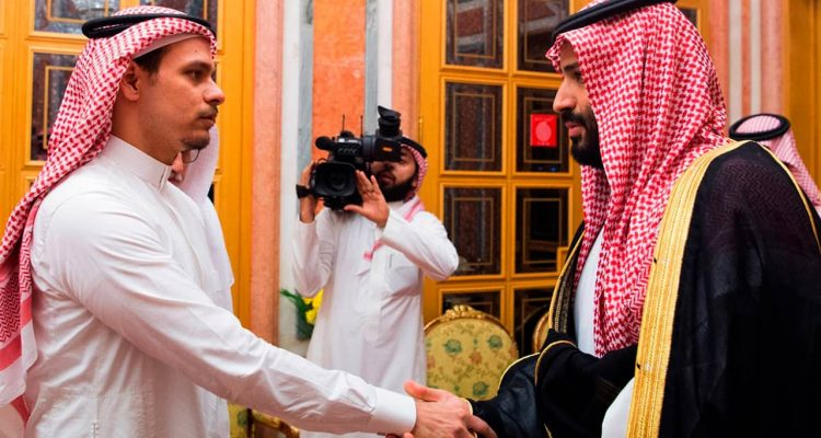 Photo of Crown Prince Mohammed bin Salman, right, shaking hands with Salah Khashoggi, son of Jamal Khashoggi