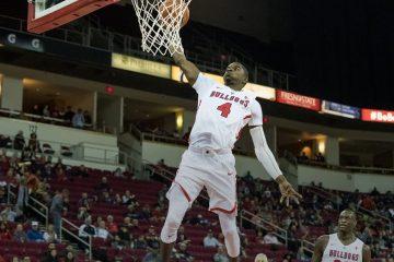 Photo of a Braxton Huggins slam dunk