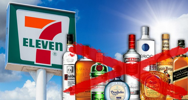 Composite illustration of a 7-Eleven and alcohol bottles