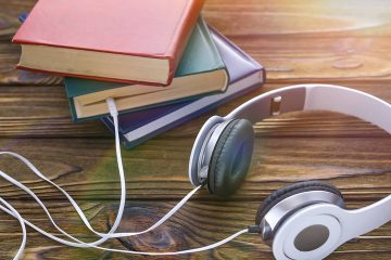 Photo of books and headphones