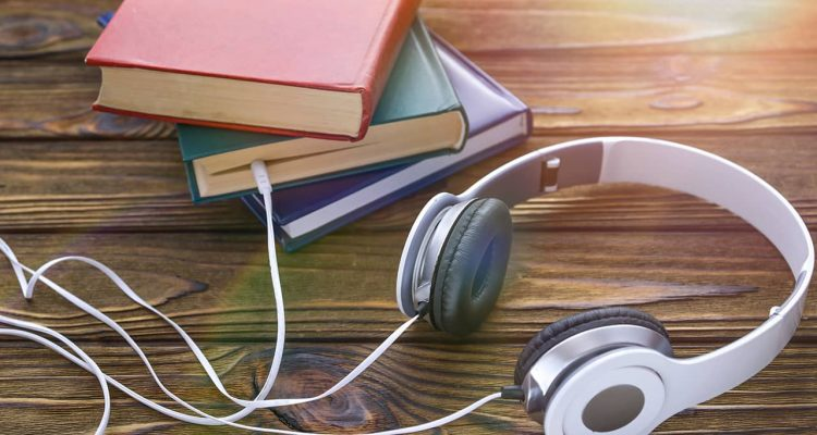 Photo of books and headphones