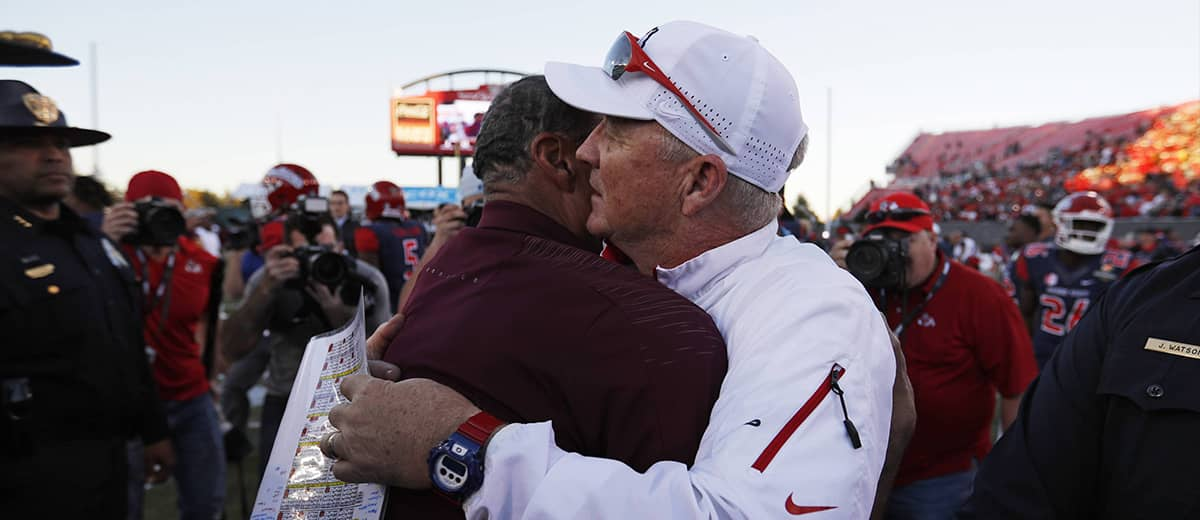 Photo of Fresno State head coach Jeff Tedford and Arizona State head coach Herm Edwards