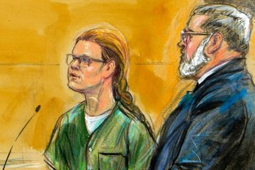 Courtroom sketch of Maria Butina and Robert Driscoll