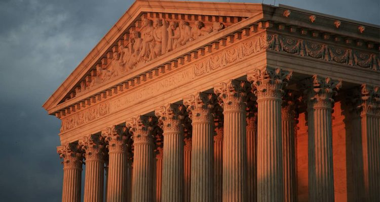 Photo of US Supreme Court at sunset