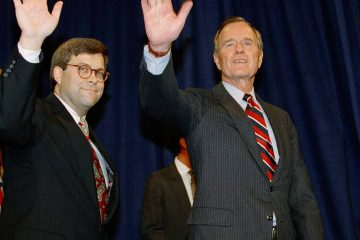 Photo of President George H.W Bush, right, and William Barr