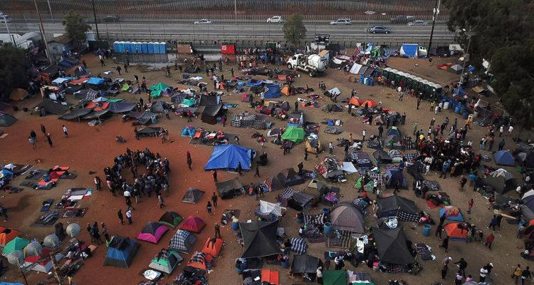 Photo of migrant caravans at a temporary shelter in Tijuana, Mexico