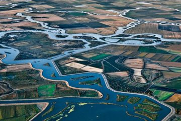 Aerial photo of canals that are part of the Central Valley Project
