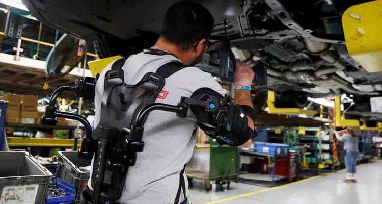 Photo of worker wearing new wearable technology