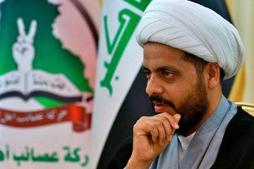 Photo of Qais al-Khazali, the leader of the militant Shiite group Asaib Ahl al-Haq