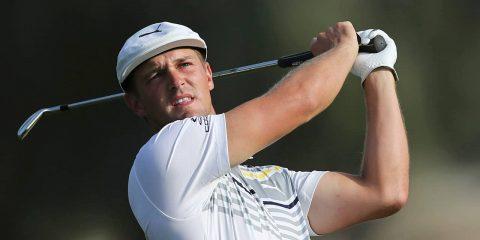 Photo of Bryson DeChambeau hitting an iron