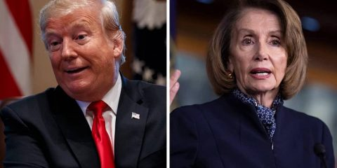 Photo combination of Donald Trump and Nancy Pelosi
