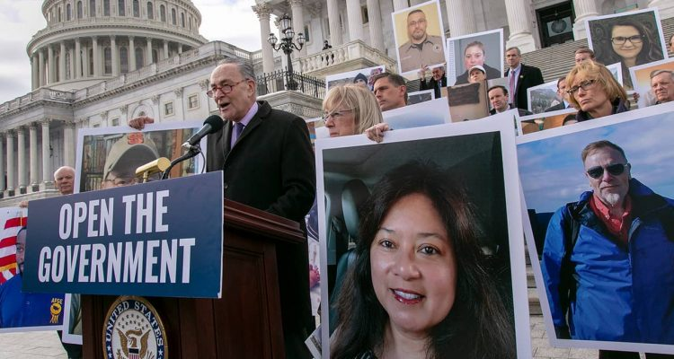 Photo of Senate Democrats, led by Senate Minority Leader Chuck Schumer